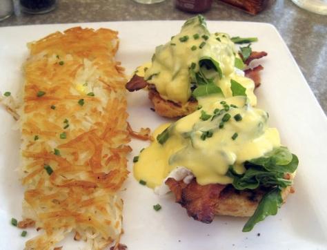 Blondie`s Eggs Benedict w/ real bacon, sauteed arugula, Deb`s Cheddar Scone