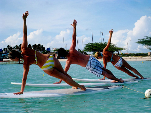Stand Up Paddleboard Yoga in Aruba... what, what?