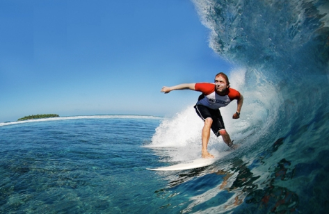 Surfing the Maldives