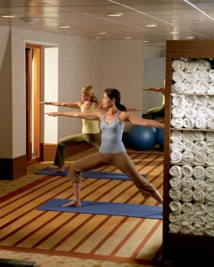Guests practice yoga in Crystal's Feng Shui Yoga Room