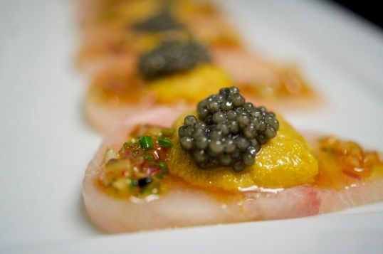 Yellowtail Crudo with Uni and Caviar