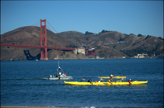 Canoe with a view of Golden Gate Bridge from Chrissy Field