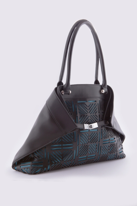 The Julia Tote in Black/Aqua